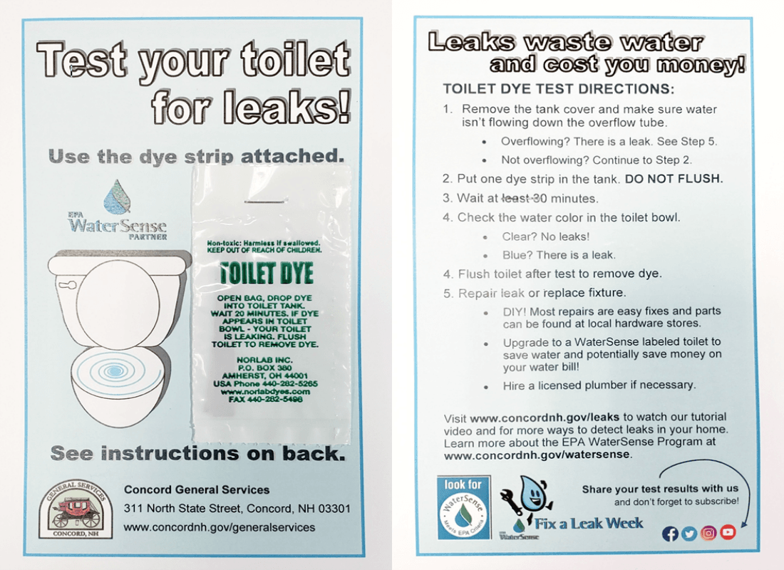 Toilet Leak Dye Test Kit Graphic